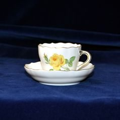 Cup espresso 70 ml  plus  saucer 109 mm, Yellow rose, Meissen porcelain