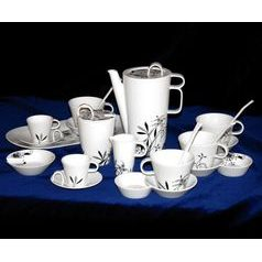 Bohemia black: Coffee set for 6 pers., design by Jiri Pelcl, Cesky porcelain a.s.
