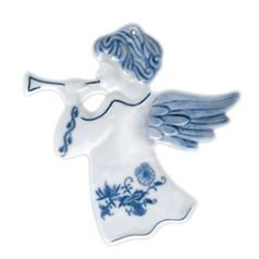 Christmas decoration - Angel with trumpet 8,8 x 9,4 cm reversible, Original Blue Onion Pattern