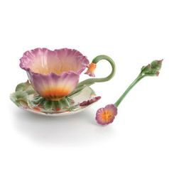 Pansy design sculptured porcelain cup/saucer, FRANZ Porcelain