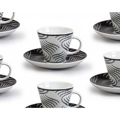 Cup 90 ml  plus  saucer 125 mm, Thun 1794 Carlsbad porcelain, TOM 30404 black