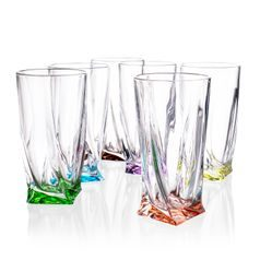 Quadro coloured - Glass 350 ml, 6 pcs., Crystalite Bohemia