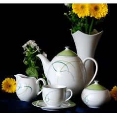 Coffee set for 6 persons, Thun 1794 Carlsbad porcelain, OPAL grass