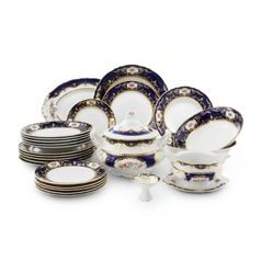 440: Dining set for 6 persons, Sonata, cobalt blue  plus  rose, Leander 1907