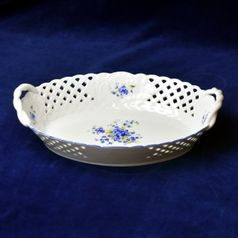 Basket oval perforated 28 cm, Forget-me-not, Český porcelán a.s.