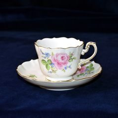 Cup 110 ml  plus  saucer 140 mm, rose, Meissen porcelain
