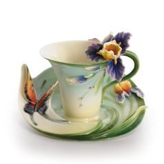 Question mark butterfly design sculptured porcelain cup/saucer set, Porcelain FRANZ