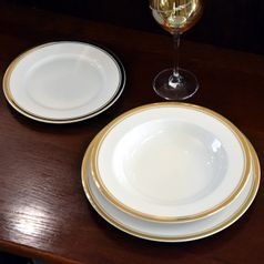 Plate set for 6 persons, Sabina, gold rim, Leander 1907