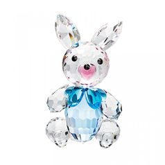 Hare with bow (agua) 40 x 23 mm, Crystal Gifts and Decoration PRECIOSA