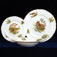 Plate set for 6 persons, Thun 1794 Carlsbad porcelain, BERNADOTTE Hunting