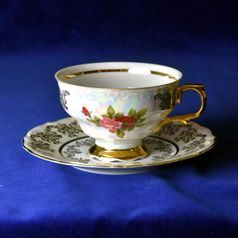 Cup tea 200 ml + saucer 16 cm, Cecily roses, porcelain Royal Queen