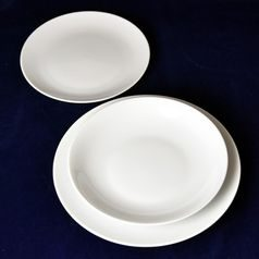 Plate set big for 6 pers., Coups white 26-22-21, Thun 1794 Carlsbad porcelain