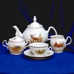 Tea set for 6 persons, Thun 1794 Carlsbad porcelain, BERNADOTTE Hunting