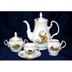 Coffee set for 6 persons, Thun 1794 Carlsbad porcelain, BERNADOTTE Hunting