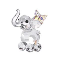 Baby elephant with buterfly, 42 x 40 mm, Crystal Gifts and Decoration PRECIOSA