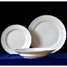 Plate set for 6 pers. big, White with blue line, Cesky porcelan a.s.