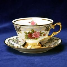 Cup tea 200 ml and saucer, Cecily (Roses) + gold, Frederyka Carlsbad