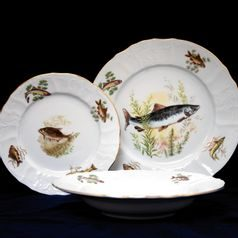 Plate set for 6 persons, Thun 1794 Carlsbad porcelain, BERNADOTTE Fishing