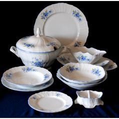 Dining set for 6 persons, Thun 1794 Carlsbad porcelain, BERNADOTTE Forget-me-not-flower