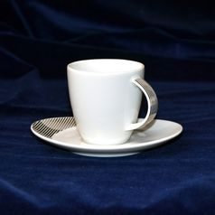 26805: Cup 140 ml  plus  saucer 140 mm, Thun Carlsbad porcelain, Loos