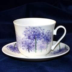 Alliums: Cup 420 ml and saucer breakfast, English Fine Bone China, Roy Kirkham