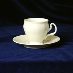 Coffee cup and saucer 150 ml / 14 cm, Thun 1794 Carlsbad porcelain, BERNADOTTE ivory