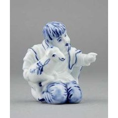 Boy with sheep 7,2 cm, Original Blue Onion Pattern