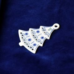 Christmas decoration - tree perforated 8,5 cm, Original Blue Onion Pattern