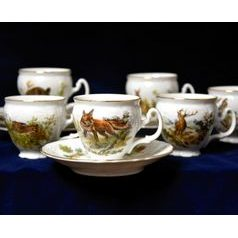 Espresso cup and saucer 75 ml / 12 cm, 6 pcs., Thun 1794 Carlsbad porcelain, BERNADOTTE Hunting