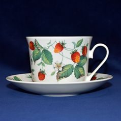 Alpine Strawberry: Cup 420 ml and saucer breakfast, English Fine Bone China, Roy Kirkham