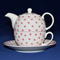 Pink Hearts: Tea for one set 3 pcs., English Fine Bone China, Roy Kirkham