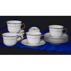 Cup and saucer 290 ml, 6 pieces, Thun 1794, Carlsbad porcelain, MENUET platina
