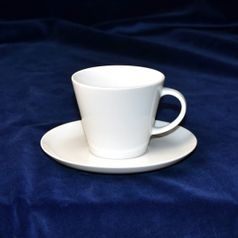 Coffee cup 150 ml and saucer 150 mm, Thun 1794 Carlsbad porcelain, TOM white