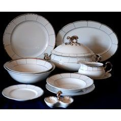 Dining set for 6 persons, Thun 1794 Carlsbad porcelain, MENUET platina