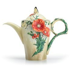 Van Gogh Poppy flower design sculptured porcelain teapot 23 cm, FRANZ Porcelain