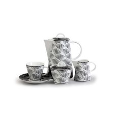 Coffee set for 6 pers., Thun 1794 Carlsbad porcelain, TOM 30404 black