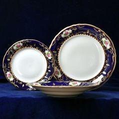 440: Plate set for 6 persons, Sonata, cobalt blue  plus  rose, Leander 1907