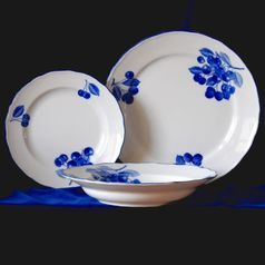 Plate set for 6 pers., Cesky porcelan a.s., Blue cherry