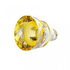 Icy Flower - Glass Wine Stopper (yellow) 42 x 37 mm, Crystal Gifts and Decoration PRECIOSA