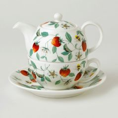 Alpine Strawberry: Tea for One set 3 pcs., English Fine Bone China, Roy Kirkham