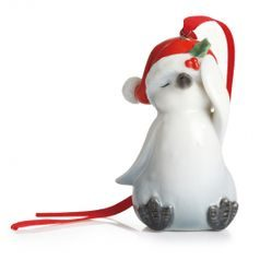 Holiday greetings penguin ornament h=8cm, FRANZ Porcelain