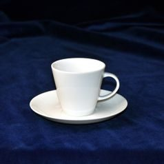 Mocca (espresso) cup 90 ml and saucer 125 mm, Thun 1794 Carlsbad porcelain, TOM white