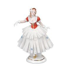 Dancer with lace 8 x 6 x 12 cm, Kurt Steiner, Porcelain Figures Unterweissbacher