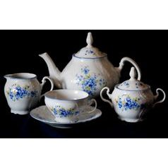 Tea set for 6 persons, Thun 1794 Carlsbad porcelain, BERNADOTTE Forget-me-not-flower