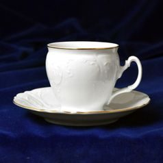 Coffee cup and saucer 220 ml / 16 cm, Thun 1794 Carlsbad porcelain, Bernadotte gold