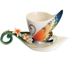 Tiger swallowtail butterfly design sculptured porcelain cup/saucer set, Porcelain FRANZ