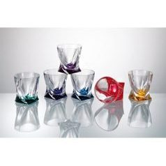 Quadro coloured - Liquere glass 50 ml, 6 pcs., Crystalite Bohemia