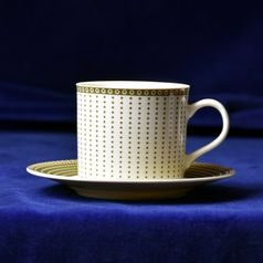 Cup tall 230 ml  plus  saucer 150 mm, Thun 1794 Carlsbad porcelain, Cairo 30381 ivory