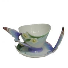 Cup and saucer 17 cm Papillon-butterfly, porcelain FRANZ