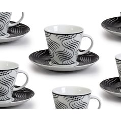 Cup 170 ml  plus  saucer 150 mm, Thun 1794 Carlsbad porcelain, TOM 30404 black